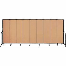 "Screenflex 9 Panel Portable Room Divider, 6'8""H x 16'9""L, Fabric Color: Wheat"