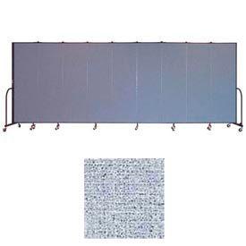 "Screenflex 9 Panel Portable Room Divider, 6'8""H x 16'9""L, Vinyl Color: Blue Tide"