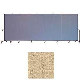 """Screenflex 9 Panel Portable Room Divider, 6'8""""H x 16'9""""L, Vinyl Color: Sandalwood"""