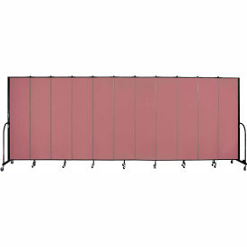"Screenflex 11 Panel Portable Room Divider, 7'4""H x 20'5""L, Fabric Color: Rose"