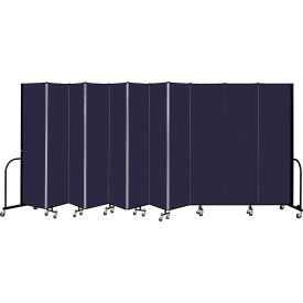 "Screenflex 11 Panel Portable Room Divider, 7'4"" H x 20'5"" L, Fabric Color: Navy"
