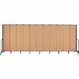 "Screenflex 11 Panel Portable Room Divider, 7'4""H x 20'5""L, Fabric Color: Wheat"