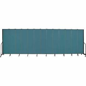 "Screenflex 13 Panel Portable Room Divider, 7'4""H x 24'1""L, Fabric Color: Lake"