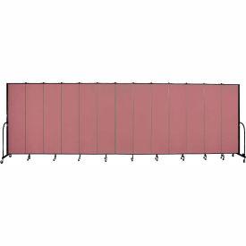 "Screenflex 13 Panel Portable Room Divider, 7'4""H x 24'1""L, Fabric Color: Rose"