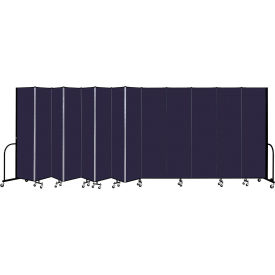 """Screenflex 13 Panel Portable Room Divider, 7'4"""" H x 24'1"""" L, Fabric Color: Navy"""