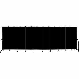 "Screenflex 13 Panel Portable Room Divider, 7'4""H x 24'1""L, Fabric Color: Charcoal Black"