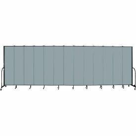 "Screenflex 13 Panel Portable Room Divider, 7'4""H x 24'1""L, Fabric Color: Grey Stone"