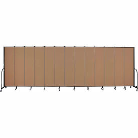 "Screenflex 13 Panel Portable Room Divider, 7'4""H x 24'1""L, Fabric Color: Beech"