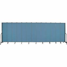 "Screenflex 13 Panel Portable Room Divider, 7'4""H x 24'1""L, Fabric Color: Blue"