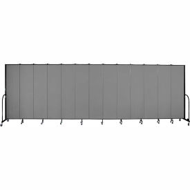 "Screenflex 13 Panel Portable Room Divider, 7'4""H x 24'1""L, Fabric Color: Grey"