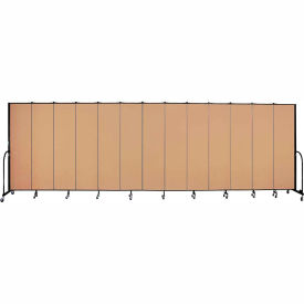 "Screenflex 13 Panel Portable Room Divider, 7'4""H x 24'1""L, Fabric Color: Wheat"