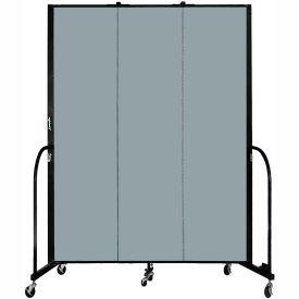 "Screenflex 3 Panel Portable Room Divider, 7'4""H x 5'9""L, Fabric Color: Grey Stone"