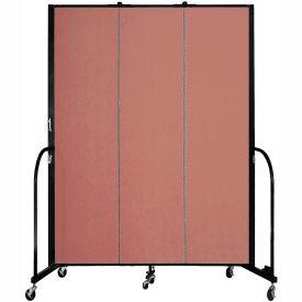 "Screenflex 3 Panel Portable Room Divider, 7'4""H x 5'9""L, Fabric Color: Cranberry"
