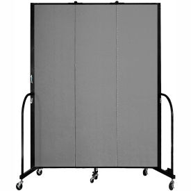"Screenflex 3 Panel Portable Room Divider, 7'4""H x 5'9""L, Fabric Color: Grey"