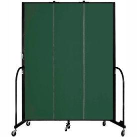 "Screenflex 3 Panel Portable Room Divider, 7'4""H x 5'9""L, Fabric Color: Green"