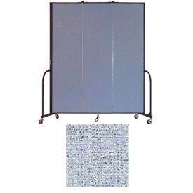 "Screenflex 3 Panel Portable Room Divider, 7'4""H x 5'9""L, Vinyl Color: Blue Tide"
