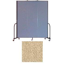 """Screenflex 3 Panel Portable Room Divider, 7'4""""H x 5'9""""L, Vinyl Color: Sandalwood"""
