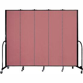 "Screenflex 5 Panel Portable Room Divider, 7'4""H x 9'5""L, Fabric Color: Rose"