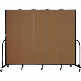 "Screenflex 5 Panel Portable Room Divider, 7'4""H x 9'5""L, Fabric Color: Walnut"