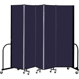 "Screenflex 5 Panel Portable Room Divider, 7'4"" H x 9'5"" L, Fabric Color: Navy"