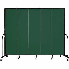 "Screenflex 5 Panel Portable Room Divider, 7'4""H x 9'5""L, Fabric Color: Green"
