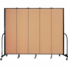 "Screenflex 5 Panel Portable Room Divider, 7'4""H x 9'5""L, Fabric Color: Wheat"