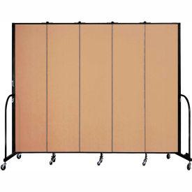 "Screenflex 5 Panel Portable Room Divider, 7'4""H x 9'5""L, Fabric Color: Wheat"