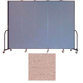 "Screenflex 5 Panel Portable Room Divider, 7'4""H x 9'5""L, Vinyl Color: Raspberry Mist"