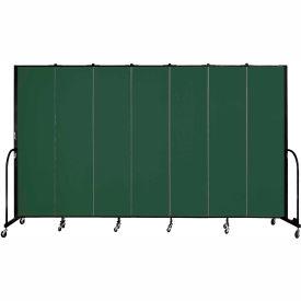"Screenflex 7 Panel Portable Room Divider, 7'4""H x 13'1""L, Fabric Color: Mallard"