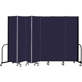 "Screenflex 7 Panel Portable Room Divider, 7'4"" H x 13'1"" L, Fabric Color: Navy"