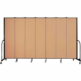 "Screenflex 7 Panel Portable Room Divider, 7'4""H x 13'1""L, Fabric Color: Desert"