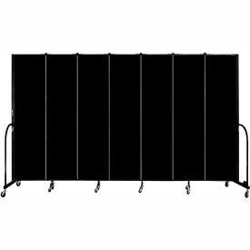 "Screenflex 7 Panel Portable Room Divider, 7'4""H x 13'1""L, Fabric Color: Charcoal Black"