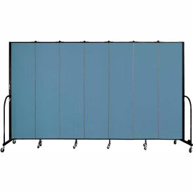 "Screenflex 7 Panel Portable Room Divider, 7'4""H x 13'1""L, Fabric Color: Blue"