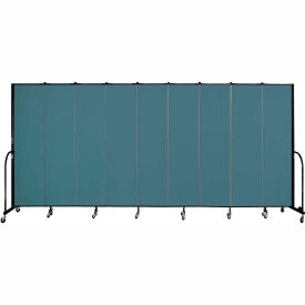 "Screenflex 9 Panel Portable Room Divider, 7'4""H x 16'9""L, Fabric Color: Lake"