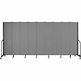 "Screenflex 9 Panel Portable Room Divider, 7'4""H x 16'9""L, Fabric Color: Stone"
