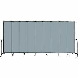 "Screenflex 9 Panel Portable Room Divider, 7'4""H x 16'9""L, Fabric Color: Grey Stone"