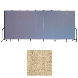 """Screenflex 9 Panel Portable Room Divider, 7'4""""H x 16'9""""L, Vinyl Color: Sandalwood"""