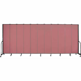 "Screenflex 11 Panel Portable Room Divider, 8'H x 20'5""L, Fabric Color: Rose"