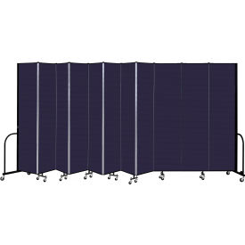 """Screenflex 11 Panel Portable Room Divider, 8' H x 20'5"""" L, Fabric Color: Navy"""