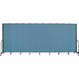 "Screenflex 11 Panel Portable Room Divider, 8'H x 20'5""L, Fabric Color: Summer Blue"