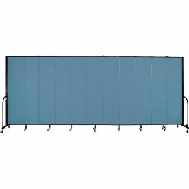 "Screenflex 11 Panel Portable Room Divider, 8'H x 20'5""L, Fabric Color: Blue"