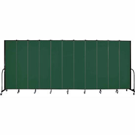 "Screenflex 11 Panel Portable Room Divider, 8'H x 20'5""L, Fabric Color: Green"