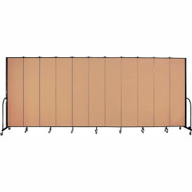 "Screenflex 11 Panel Portable Room Divider, 8'H x 20'5""L, Fabric Color: Wheat"