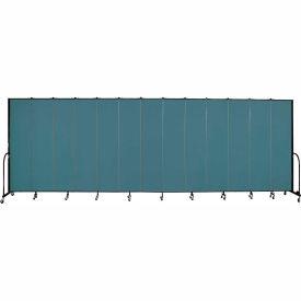 "Screenflex 13 Panel Portable Room Divider, 8'H x 24'1""L, Fabric Color: Lake"