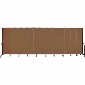 "Screenflex 13 Panel Portable Room Divider, 8'H x 24'1""L, Fabric Color: Walnut"