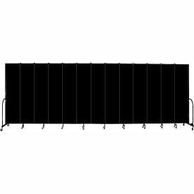 "Screenflex 13 Panel Portable Room Divider, 8'H x 24'1""L, Fabric Color: Charcoal Black"