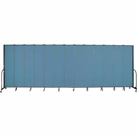 "Screenflex 13 Panel Portable Room Divider, 8'H x 24'1""L, Fabric Color: Summer Blue"