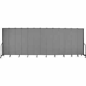 "Screenflex 13 Panel Portable Room Divider, 8'H x 24'1""L, Fabric Color: Grey"