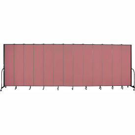 "Screenflex 13 Panel Portable Room Divider, 8'H x 24'1""L, Fabric Color: Mauve"