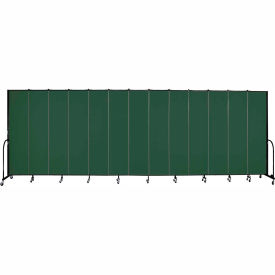 "Screenflex 13 Panel Portable Room Divider, 8'H x 24'1""L, Fabric Color: Green"